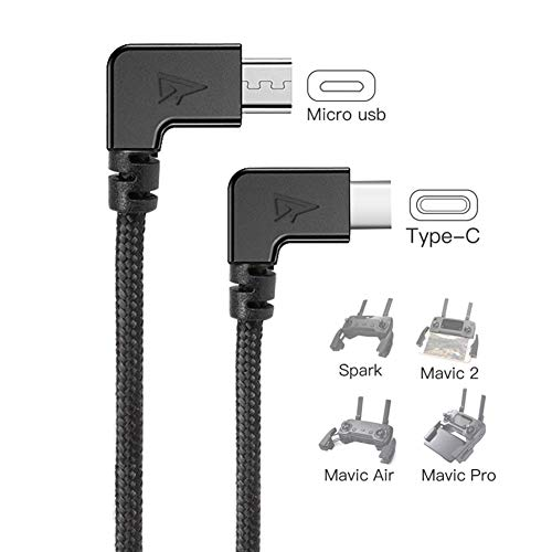 RCstyle 90 Degree Micro USB to Type-c OTG Data Cable Right Angle Connector Cord Compatible with DJI Spark, Mavic Pro, Platinum, Air, 2 Pro, Zoom Remote Controller Accessories 1FT