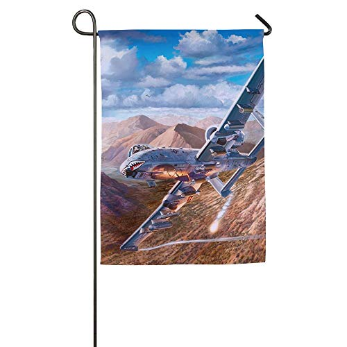 HUVATT Airplane Painting Art Attack Aircraft Garden Flag Indoor & Outdoor Decorative Flags for Parade Sports Game Family Party Wall Banner 12x18 inches]()