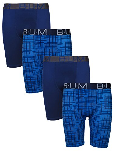 B.U.M. Equipment Boys' Performance Dri-Fit Compression Boxer Briefs, Navy & Blue Print, X-Large - 16/18