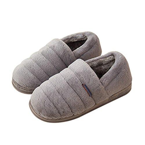 Chaussons Pantoufles Hiver de Couleur Unie chez les Hommes avec des Chaussures Antidérapantes Intérieures Tout Inclus (Couleur : Gris, Taille : EUR:44-45)
