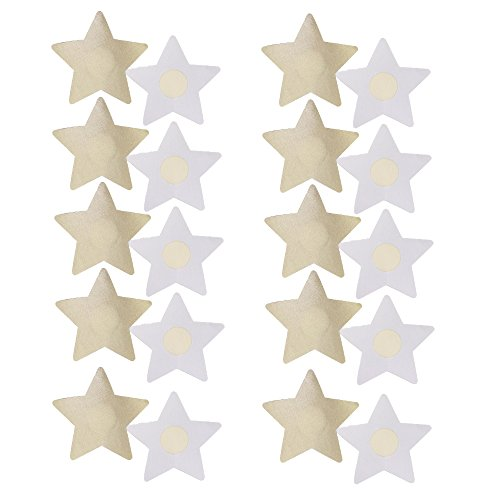 Nipplecovers Disposable, JESWELL Adhesive Women Pasties Sexy Breast Petals for Backless Dresses, Multi Design (Star Petals 10 Pairs Nude)