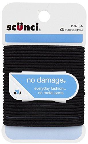 No Damage Elastic Hair Bands, Black - Scunci Hair Dryer