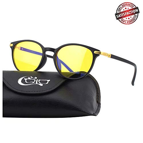 CGID CY32 Premium TR90 Frame Blue Light Blocking Glasses,Anti Glare Fatigue Blocking Headaches Eye Strain,Safety Glasses for Computer/Phone/Tablets,KeyHole Flexible Unbreakable Frame,Yellow Lens