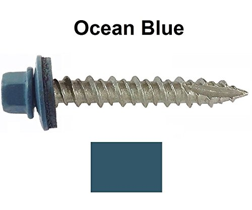 "Metal ROOFING SCREWS:  Screws x 1-1/2"" OCEAN BLUE Hex Washer"