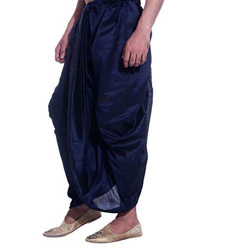 Royal Kurta Men's Art Silk Fine Quality Ready to Wear Dhoti Pant Free Size Blue