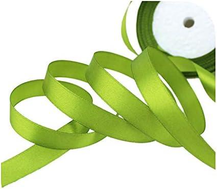 kawayi-桃 (25ヤード/ロール)片面サテンリボンウェビング装飾ギフトクリスマスリボン(6/10/12/15/40 / 50mm)-Fruit Green-6mm