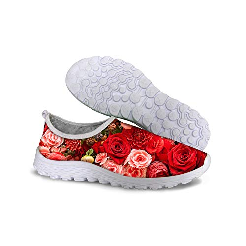 Bigcardesigns Red Floral Designs Mesh Loafers Breathable Running Sneakers Slip On Walking Shoes for Women Ladies Size 39