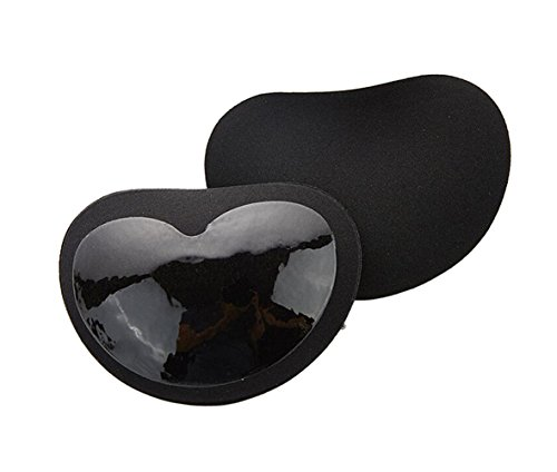 adhesive Invisible Bra Inserts Breast Chest Swimsuit Pads Enhancers Push-up Molding Pad A to D Cup for Bikini (Black) ()
