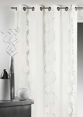 HomeMaison 851670 Rideaux Bachette Imprimé Polyester Blanc 140 x 260 ...