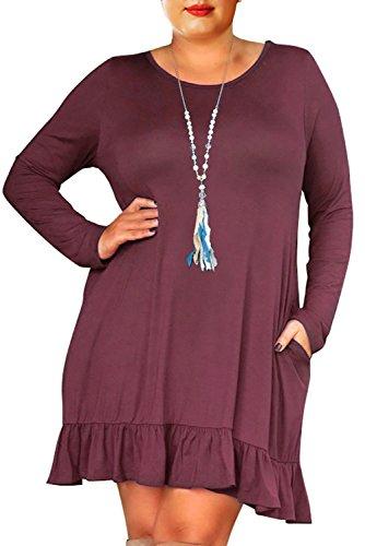 Nemidor Women's Simple Style Long Sleeve Ruffled Plus Size Casual Dress (14W, Purple) by Nemidor