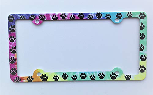 ATD Paws License Plate Frame, Paw Prints Decorative License Plate Holder, Colorful Car Tag Frame for Dog & Cat Lovers