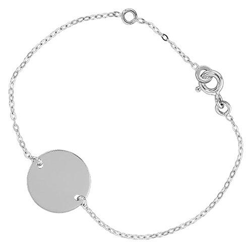 Orleo - REF10978BB : Bracelet identité Enfant Or 18K blanc - 14 cm - Fabriqué en France