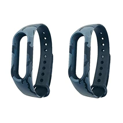 Crysendo Smart Replacement Strap Accessories for Xiaomi Mi Band 2 (Black  Camouflage)-Combo Pack of 2