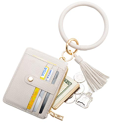 COOLANS Wristlet Bracelet Keychain Card Holder Card Pocket PU Leather Purse Tassel Keychain Bangle Key Ring for Women Girls (Style 08)