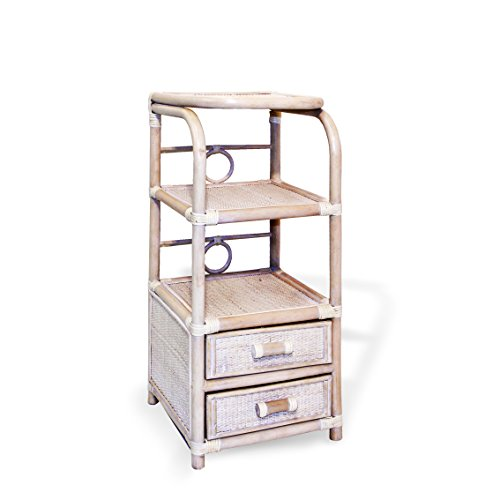 Rattan Wicker Accent End Phone Night Table White Wash