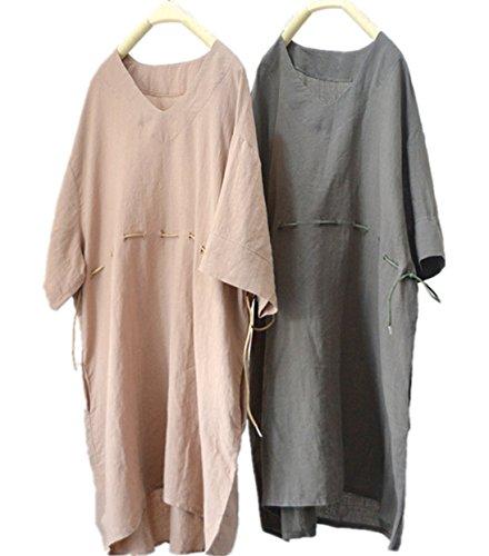 敷居組立母音YESNO tf7レディースブラウスチュニックドレス100 %リネンカジュアルプラスサイズ3 / 4 bat-wing ' V ' NECK夏 カラー: ベージュ
