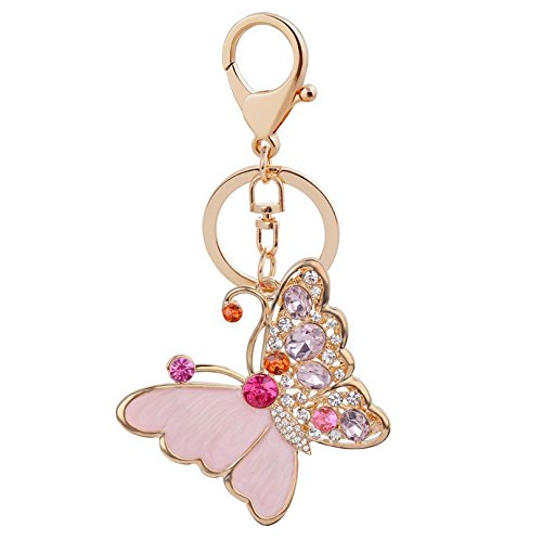 Pink Butterfly Keychain Crystal Favors - DHWM KDHWM-Gift/Love Keychain/Car Key Chain With Diamond Butterfly Fine Cartoon Packages Stylish Car Key Chains Pink