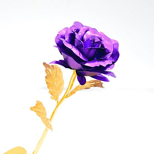 Onerbuy Creative 24K Gold Foil Rose Flower Full Blossom Presents, Romantic Gift for Her with Box, Handcrafted & Love Last Forever (Purple)
