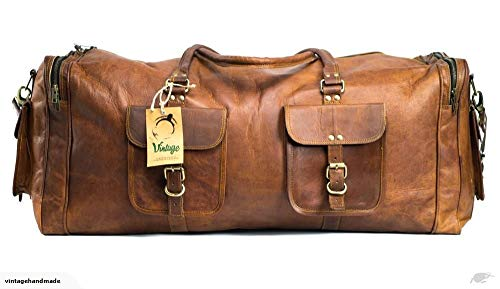 (KK's 30 Inch Real Goat Leather Large Handmade Travel Luggage Bags in Square Big bag Carry)