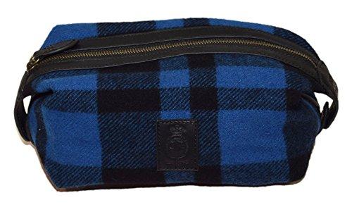 Polo Ralph Lauren Toiletry Travel Lavatory Dopp Zip Kit Wool Plaid Blue Black by RALPH LAUREN