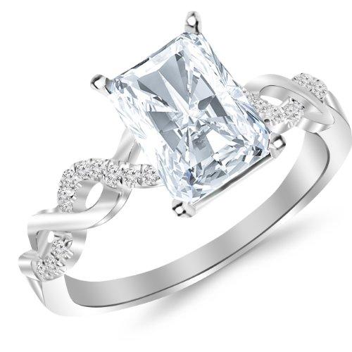 0.63 Carat t.w. Platinum Radiant Twisting Infinity and Diamond Split Shank Pave Set Diamond Engagement Ring G/SI1