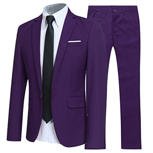 YFFUSHI Slim Fit 2 Piece Suit for Men One Button Casual/Formal/Wedding Tuxedo,Purple,XX-Large