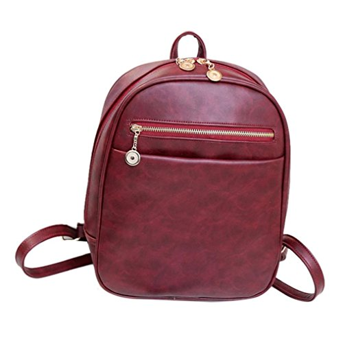 Price comparison product image Backpack,  GOODCULLER Women leather Travel School Mochila Feminina Bag Rucksack (Red)