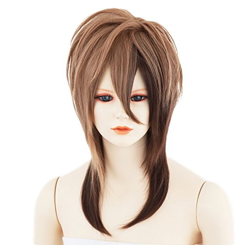 Sepia Costume Wigs (Visual kei Wig Sepia-Brown Medium Japanese Synthetic Darkbrown Two-tone Hair Heat-resistant)