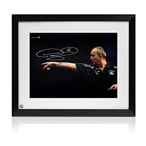Framed Phil Taylor Signed Darts Photo: Feel The Power
