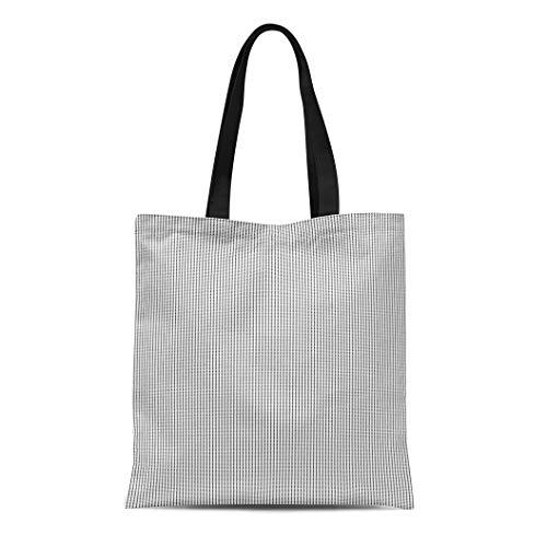 Semtomn Canvas Tote Bag Shoulder Bags Black Check Pattern Stars Polygons Abstract Octagons Ethnic Mosaic Women's Handle Shoulder Tote Shopper Handbag