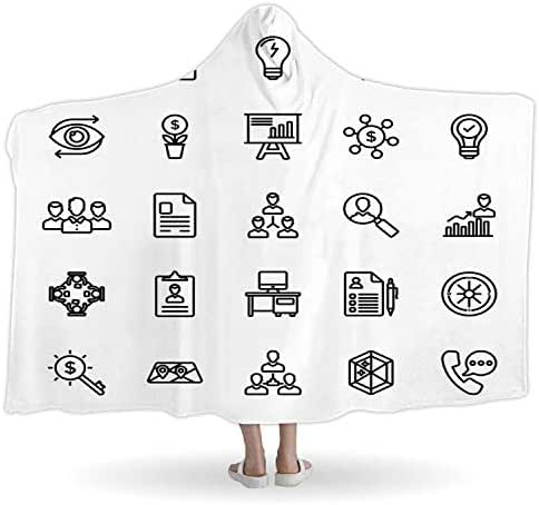 CUDEVS Startup and New Business Line Vector Icons Set,WearableBlanketBaby,065199,Winter,60''W x 40''H
