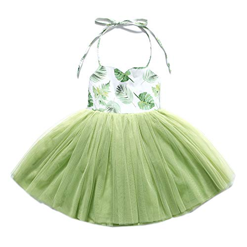 Flofallzique Summer Girls Dress Wedding Birthday Party Easter Ball Gown Dress for Kids(6, Vintage Green)