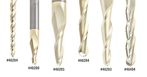 variant image of Amana Tool 46286-5, 5-Pack CNC 2D and 3D Carving 3.6 Deg Tapered Angle Ball Nose x 1/8 D x 1/16 R x 1 CH x 1/4 SHK x 3 Inch Long x 3 Flute SC ZrN Coated Router Bits