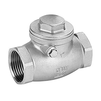 """Akozon Swing Check Valve 1"""" DN25 Check Valve Stainless Steel One Way Female Thread WOG 200PSI for Water, Oil, steam and Other Media and Some Corrosive Liquids from Akozon"""