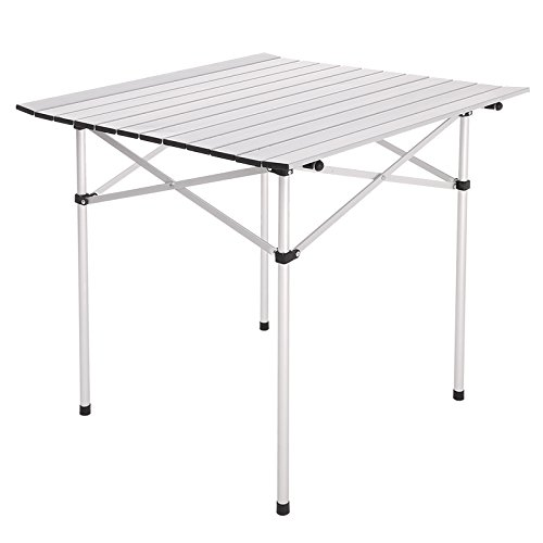 Gracelove Portable Aluminum Roll Up Table Folding Camping Outdoor Picnic Table Garden Yard by Love+Grace