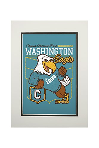 Olympic National Park, Washington - Eagle Mascot - Collegiate Letter Style - Vintage Athletic (11x14 Double-Matted Art Print, Wall Decor Ready to Frame)