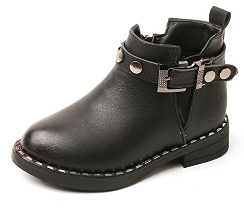 Bumud Boy's Girl's Buckle Strap Ankle Low Heel Combat Boots Kids Winter Warm Shoes - stylishcombatboots.com