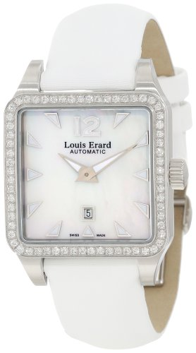 Louis Erard Women's 20700SE04.BDS61 Emotion Square Automatic White Satin Diamond Watch