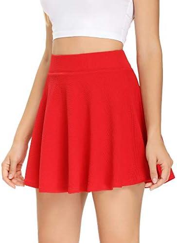 Women's Pleated Tennis Skirt with Shorts Pocketsfor Running Golf Workout Mini Flared Skater Skirt