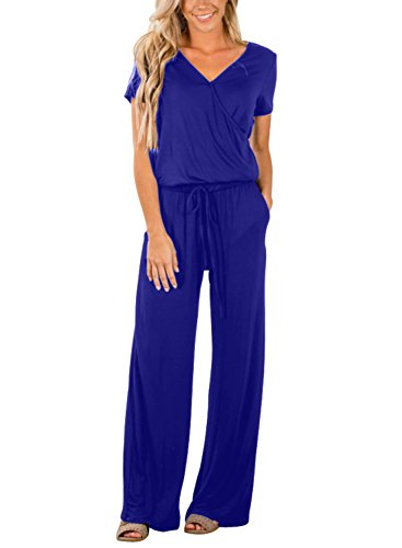 Acelitt Women Summer Short Sleeve Cotton Wrap Top Loose Jumpers V Neck Casual Pockets Jumpsuit Party Blue Plus Size XL -