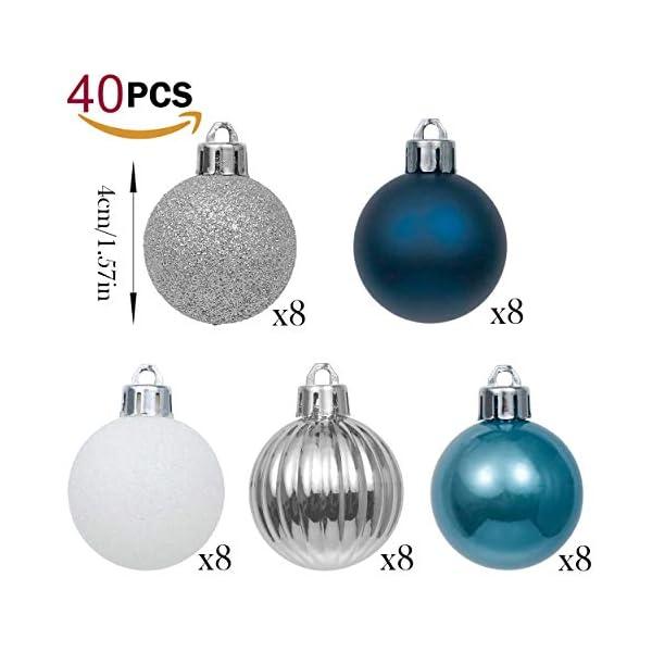Valery Madelyn Palle di Natale 40 Pezzi 4 cm Addobbi Natalizi per Albero, Auguri Invernali Argento e Blu Ornamenti di Palla di Natale Infrangibili di Base 3 spesavip
