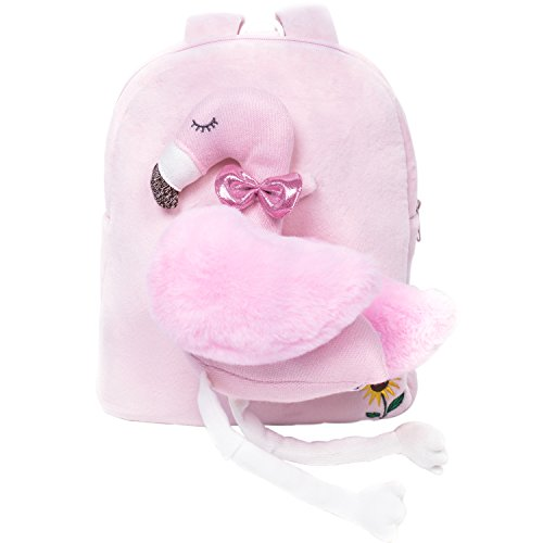 Toddler Backpack-TALENTBABY Plush Kids Backpack with Leash Safety Harness and Cute 3D Cartoon Animals Toy for 1-6 Years Old Girls Boys(Pink Flamingo) by TALENTBABY