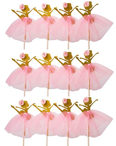 LASLU Cute Ballet Dancer Girls Fairy Peri Dessert Muffin Cupcake Toppers for Picnic Wedding Baby Shower Birthday Party Server(Gold and Pink) ()