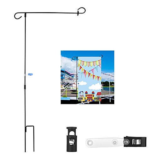 (Teancll Garden Flag Stand Holder Pole with Flags Rubber Stopper and Anti-Wind Clip 36.3
