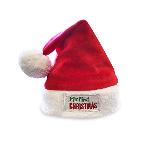 JennyGems Babys First Christmas Santa Hat, Embroidered Cuff (Baby Hat Santa)