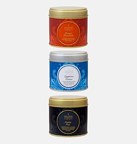 Shearer Candles Scented, Tin Candle x 3, Orange Pomander, Egyptian Cotton, Amber Noir, Wick, Fragrance & Essential Oils, Black, Blue, Silver, Gold, Large ()