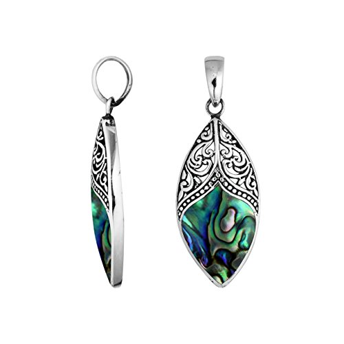 - Bali Designs Sterling Silver Marquise Shape Pendant with Abalone Shell AP-6195-AB