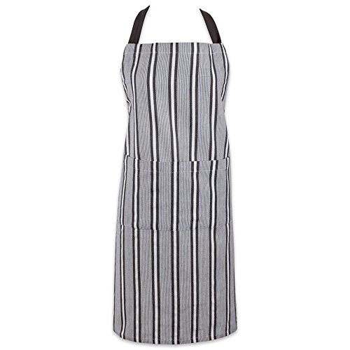Classic Waist Apron (DII Cotton Adjustable Stripe Chef Bib Apron with Pockets and Extra Long Ties, 32 x 28