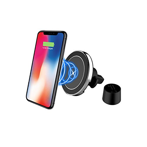 Magnetic Wireless Car Charger - 10W FAST CHARGING UPGRADED MODEL Apple iPhone X/8/8 Plus, Samsung Galaxy S8/S8 Plus/S7/S6 Edge/Note 5/Note 8, LG G3-G4-V30 and All QI-Enabled Devices by WIZGADGETS