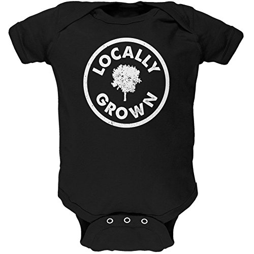 Earth Day - Locally Grown Black Soft Baby One Piece - 3-6 (Hippie Suit)